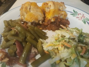 Cowboy Casserole plated with sides